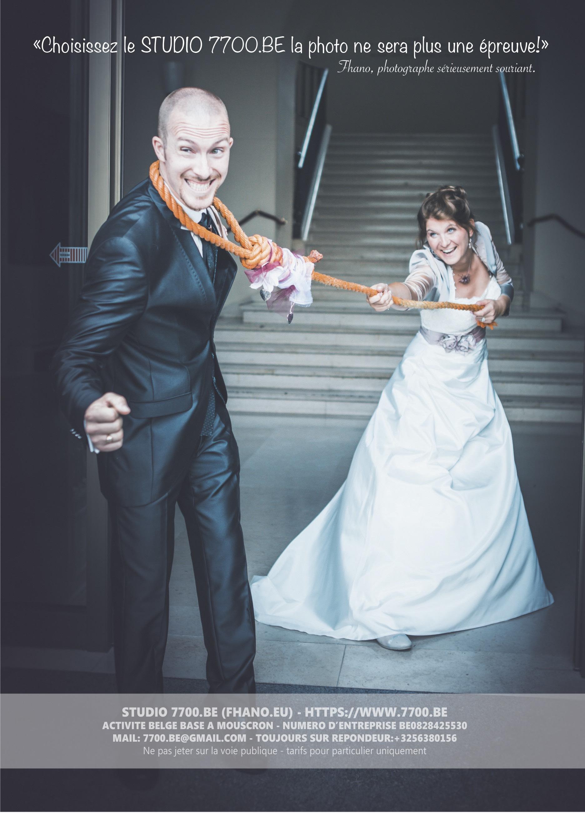 Brochure 2019 des tarifs et forfaits mariage au Studio 7700.BE by Fhano, votre photographe pour la France, la Belgique et la Suisse. Page 8 sur 8 La couverture arrière où je vous montre une photo décalée, à l'image de ce couple qui voulait un reportage qui leur ressemble.