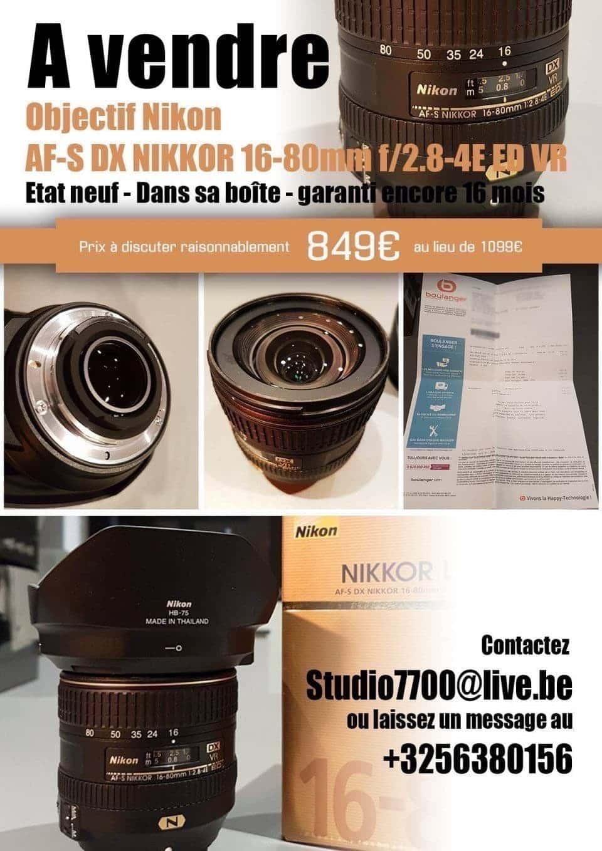 Objectif Nikon AF-S DX NIKKOR 16-80mm f/2.8-4E ED VR